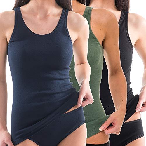 HERMKO 1310 3er Pack Damen Tank Top aus 100% Bio-Baumwolle, Größe:48/50 (XL), Farbe:Mix s/m/o
