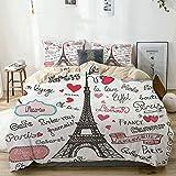 Nonun Juego de Funda nórdica Torre Eiffel Paris Letter Heart Print Beige Juego de Cama Decorativo de 3 Piezas con 2 Fundas de Almohada