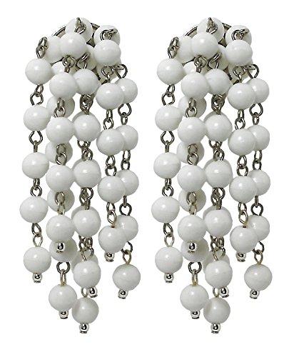CHARA WHITE - Orecchini pendenti donna, grappolo a clip, senza buco, in resina Bianco, originali anni 60,nickel free, lunghezza cm. 6