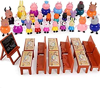cartoon Peppa Pig Friends Toys Soft Head for kids Gift With blackboard, chairs, Desks and bag- 25 pieces