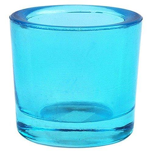 Bluecorn Beeswax Heavy Glass Votive and Tea Light Candle Holders (1, Aqua)