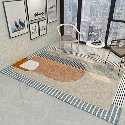 Teppiche Weich warm Teppich Cremegrauer hellgelber dekorativer Teppich mit minimalistischem geometrischem Muster schön Schlafzimmer Teppich 160 * 230cm