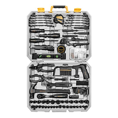 DEKOPRO 218Piece General Household Hand Tool kit Professional Auto Repair Tool Set for Homeowner General Household Hand Tool Set with Plier Screwdriver Set Socket Set with Portable Storage Case