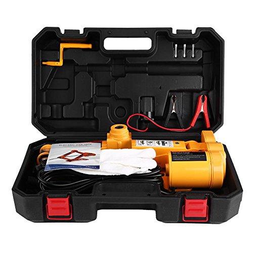 Hydraulischer Wagenheber, 12 V, 3T Elektrischer Wagenheber für Auto mit Controller, Kurbel, Batterieklemmen, Kabel, Sicherungen und Handschuhe für mehr Komfort, Auto-Werkzeug