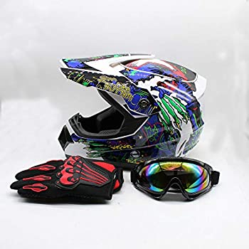 Adult Motocross Helmet Dirt Bike ATV Motorcycle Helmet Road Downhill Motorbike Full Face Helmets Gift MTB Racing Helmet Protector Muti-Color Helmet Set w/Goggles 2 Size/L