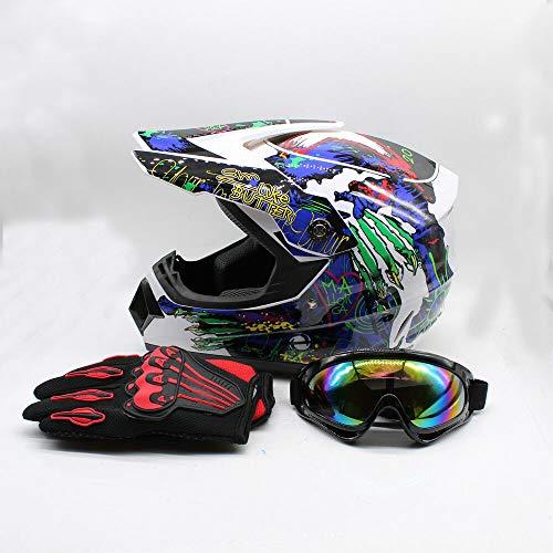 Motorcycle Helmet Adult Motocross ATV Dirt Bike Gift MTB Racing Helmet Protector Muti-Color Helmet Set w/Goggles (1 Size/L)