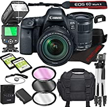 Canon EOS 6D Mark II DSLR Camera Bundle with 24-105mm is STM Lens   Built-in Wi-Fi 26.0 MP Full Frame CMOS Sensor    DIGIC 7 Image Processor and Full HD Videos + 64GB + TTL Bounce Flash (19pcs)