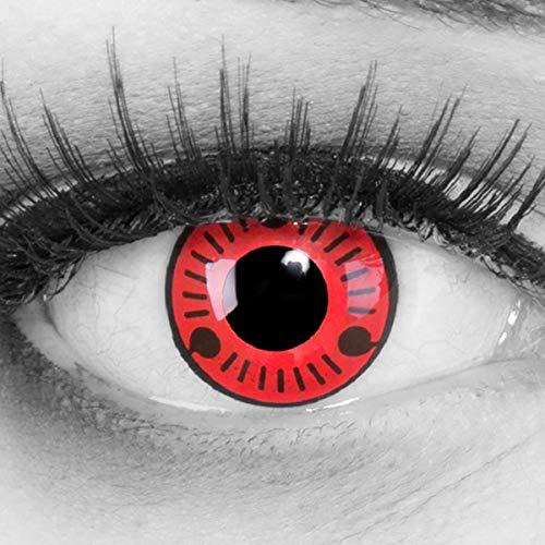 Meralens 1 Paar Farbige Anime Manga Kontaktlinsen Ohne Stärke mit gratis Kontaktlinsenbehälter - Sharingan Sasuke Naruto in rot schwarz perfekt zu Hereos of Cosplay, Halloween rote 12 Monatslinsen