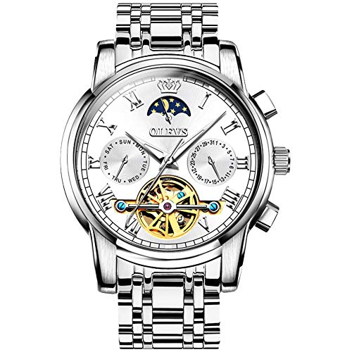 OLEVS Reloj Automático de Pulsera Acero Inoxidable Impermeables Tourbillon Mecánico Regalos de Relojes para Hombres