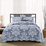 Bedspread Double King Size Coverlet Printed Lightweight Quilted Bed Cover Throws 3 Pieces Sets,Blue-230x250cm+50x70cm