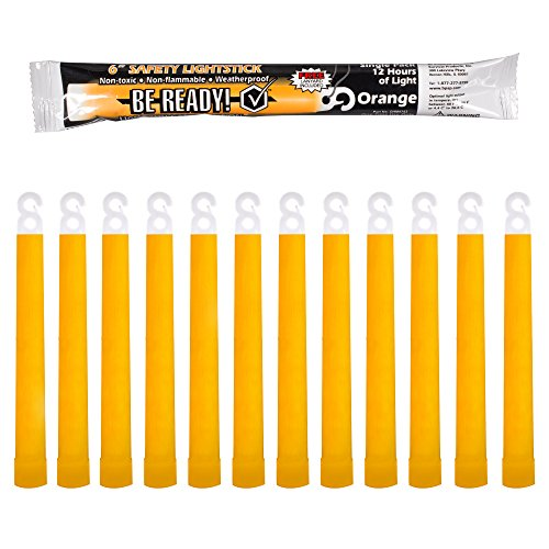 Be Ready - Industrial 12 Hour Illumination Emergency Safety Chemical Light Glow Sticks (12 Pack Orange)