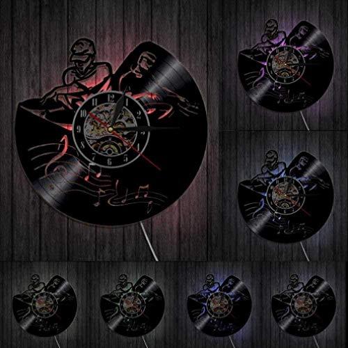 Reloj de Pared de Vinilo Mezclador Giratorio DJ Reloj de Pared Deejay Spinning Scratching Album Reloj de Pared con Registro de Vinilo-No_Led-with Led