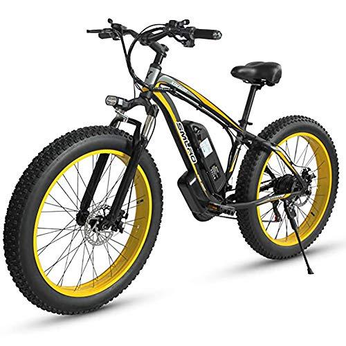 WXX 26 * 4,0 Pulgadas neumático Grande Plegable Bicicleta eléctrica 500W 48V 15AH de aleación de Aluminio de la batería de Litio de la Playa de Motos de Nieve LCD Monitor ciclomotor,Black Yellow