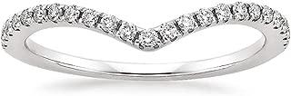10K White Gold Diamond 2MM Chevron Half Eternity Stackable Wedding Anniversary Band Ring