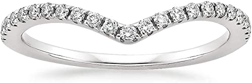 10K White Gold Diamond 2MM Chevron Half Eternity Stackable Wedding Anniversary Band Ring
