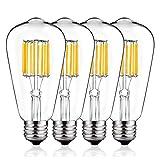 Vintage LED Edison Bulb 100W Equivalent, DORESshop 10W ST64(ST21) LED Filament Light Bulb, Warm White 2700K, E26 Base Squirrel-Cage Antique Lamp for Home Decor, Reading Room, Non-Dimmable, 4Pack
