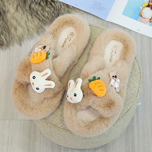 B/H Mezze Pantofole,Pantofole in Cotone con Pelliccia di Coniglio del Fumetto, Scarpe Incrociate Piatte Antiscivolo-Khaki_35,Pantofole Invernali da Uomo