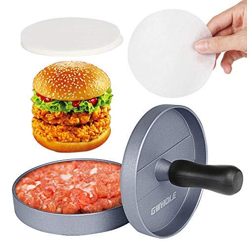 GWHOLE ハンバーガープレス 肉プレス 手軽にパテが作れる キッチン用品 調理用品 ワックスペーパー 100枚入れ
