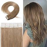 Silk-co Tape In Extensions Echthaar - #27 DunkelBlond - 20 Tressen X 4cm Breit/2,5g - 50g Haarverlängerung Remy Echthaar Extensions tape 50cm
