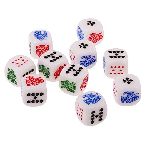 MagiDeal Confezione da 10 Pezzi A Sei Facce Poker Dice Dadi per Casinò Poker Card Festa Gioco Accessori, 12mm