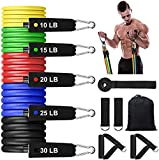 Lovelyee Resistance Bands Set with Stackable Exercise Bands,Non-Slip Foam Hanldes,Carry Bag, Door Anchor Attachment, Legs Ankle Straps and Workout Guide (100 lbs)
