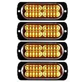 Sidaqi 4X 20 LED Feux Stroboscopique led ambre Extrêmement Lumineux 12-24v LED D'urgence Danger Lumière led Stroboscope pour Voiture Camion