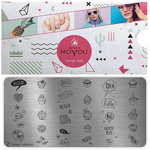 MoYou's XL Trendy 2 Stamping Schablone, Nail Art Stampling - Nagel Lack Stempel, Cupcake Maniküre