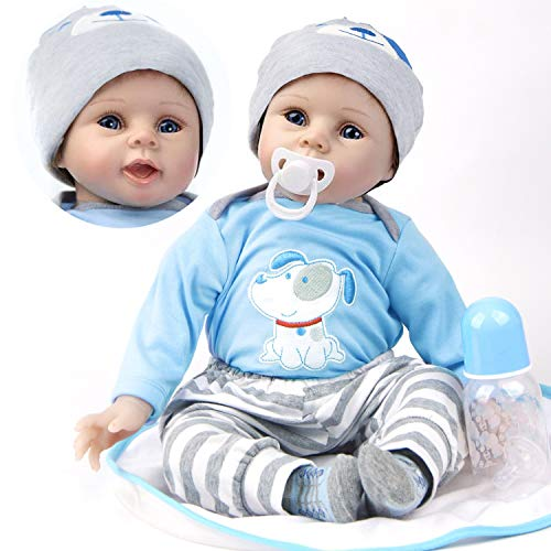 ZIYIUI 22inch Bambola Reborn Maschio Realistica 55 cm Bambino Bambole Reborn Babys Ragazzo Silicone Dolls Vestiti Blu Giocattoli per Bambini