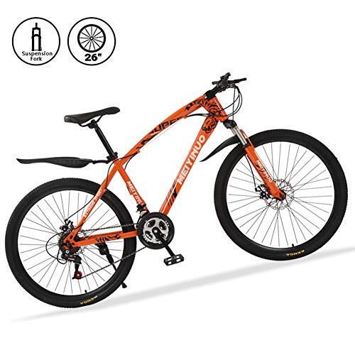 Bicicletta MTB 26 Pollici 21V Bici Mountain Bike Freni a Disco Acciaio al Carbonio Telaio e Fork Suspension,Arancia,30 Spokes