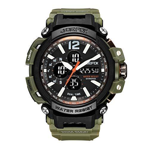 Orologio militare da uomo, digitale militare sport analog-digital grande viso 56mm di diametro cronografo orologi per gli uomini, cinturino in resina impermeabile LED nero orologio da polso