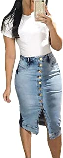 MogogoWomen Denim Sexy Slim Body Enhancing Single Breasted Pencil Skirt