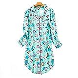 DSJJ Pyjama en Coton à Manches Longues pour Femmes, Chemise de Nuit Femme boutonnée Devant,vêtements de Nuit, Grandes Tailles