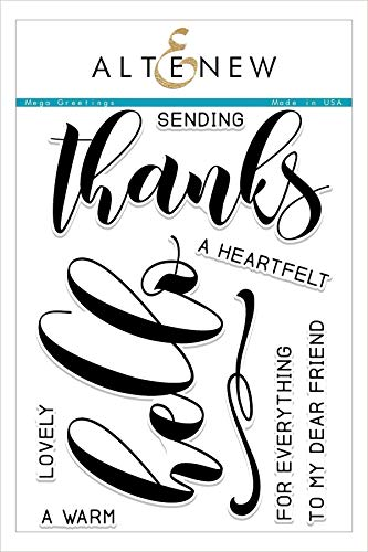 Altenew Mega Greetings Clear Stamp Set for Hello and Thank You Cards, 9 Individual Stamps, Trendy Sentiment Fonts (6' x 8')