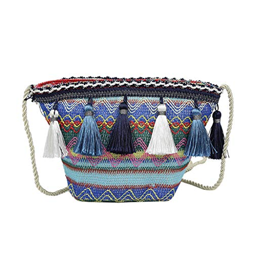 TWIFER Bolso De Paja Bolso de mujer Bolsa de paja semicircular Bolsa de paja en forma de media luna Shopper bolso de mano The Semicircle Art Beach Bag Straw Bag Moon Bag
