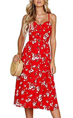 Angashion Damen V Ausschnitt Spaghetti Buegel Blumen Sommerkleid Elegant Vintage Cocktailkleid Kleider, Größe: M, Farbe: 0860 Rot