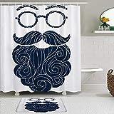 Juego de cortinas y tapetes de ducha de tela,Boceto dibujado a mano varonil de bigote de barba inconformista con gafas,cortinas de baño repelentes al agua con 12 ganchos, alfombras antideslizantes