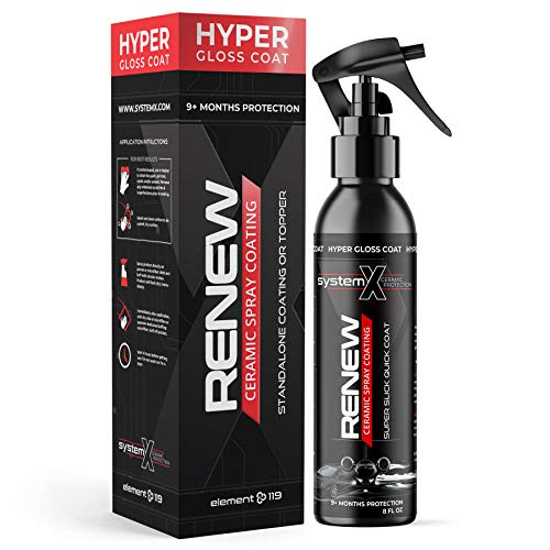 System X Renew Ceramic Spray Coating - Ultra Hydrophobic DIY Ceramic Nano Coat - Super Slick Finish & Feel - Superior to Wax & Polymer Sealants - 9+ Months of True SiO2 Paint Protection (8 FL OZ)
