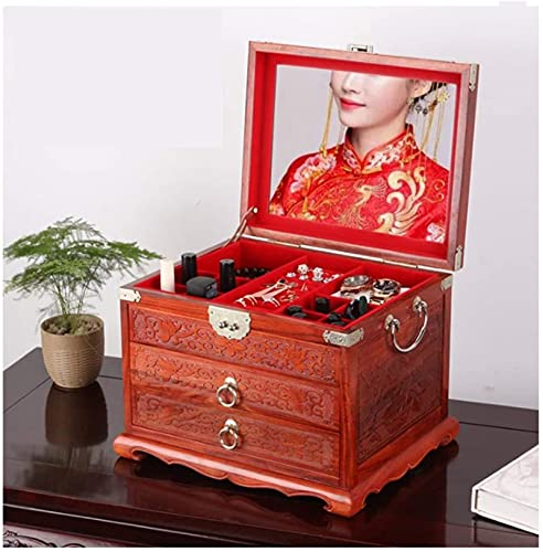 WHXL Caja de joyería Caja de almacenamiento Caja de joyería de palisandro Caja de joyería antigua de madera maciza Caja de joyería de regalo de niña grande