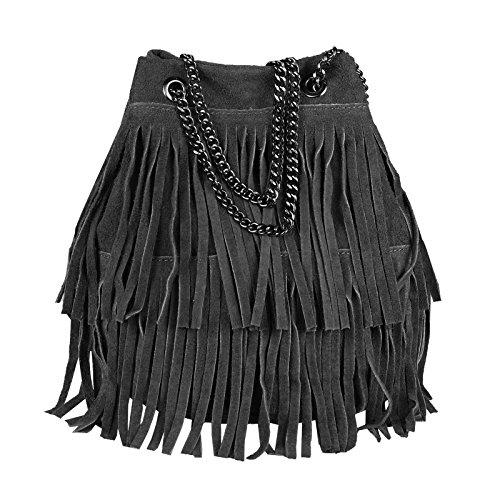 OBC Made in Italy Damen Leder Tasche Fransen Shopper Kettentasche Beutel Wildleder Handtasche Umhängetasche Bucket Bag Schultertasche Ledertasche (Schwarz 20x25x19 cm)