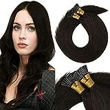 VeSunny Dark Brown I Tip Hair Extensions Human Hair Color #2 Dark Brown Cold Fusion Tip Hair Extensions 14 Inch 50G Per Pack