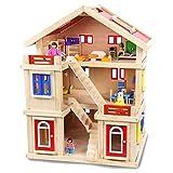 KEIT De Colores Casa de muñecas, de Madera DIY de Tres Pisos Villa Baby Doll House, Rompecabezas Bloque de construcción, Play House niña Juguetes for Recuerdos Regalo de cumpleaños Fuerte atracción