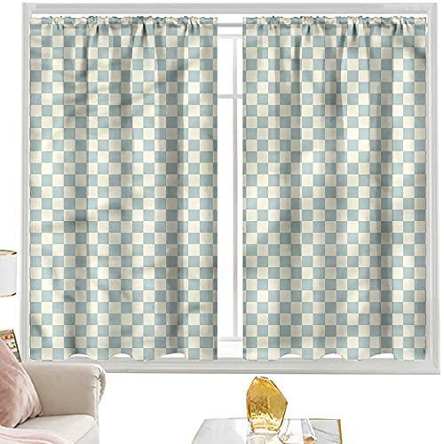 Cortinas de dormitorio geométricas, azulejos vintage a cuadros de 42 x 84 pulgadas de ancho