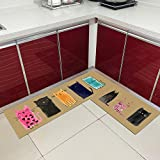 Runner Rugs,2 Pieces L-Shape Japanese Style Water Resistant Kitchen Sink Mats Lovely Cats Pattern Long Absorbent Runner Rugs Floor Mat Carpets for Kitchen Laundry Room Sink Hallway Entry,Colorful Ca