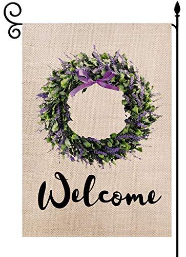 Welcome Lavender Wreath Evergreen Garden Flag Burlap Vertical 12.5 x 18 Inch, Double Sized Seasonal Spring Rustic Farmhouse Yard Outdoor Decoration