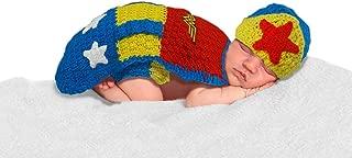 Wonder Woman Costume for Newborn- Costume for Newborn Baby Girl- Girl Crochet Wonder Woman Costume – Photo Prop for Girls- Newborn Dresses