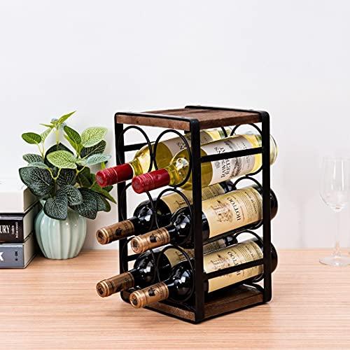 Tinyuet Portabottiglie da Appoggio in Legno Rustico, Portabottiglie di Vino Kit per Ripiani da Cucina Presentazione e Wine Bar-6 Bottiglie-32 * 24 * 18cm