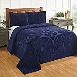 Better Trends Ashton Collection is Super Soft and Light Weight in Medallion Design 100 Pecent Cotton Tufted Unique Luxurious Machine Washable Tumble Dry, King Bedspread, Navy