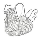 La Bolata - Huevera metálica con forma de gallina y asas 26 x 33 x 23 cm, cesta,...