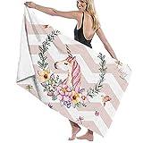 asdew987 Unicornio rosa con flores impresión toalla playa toalla conjunto baño baño toallas accesorios piscina toalla viaje y baño toalla 80 cm x 130 cm