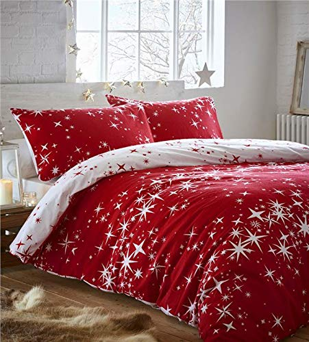 Homemaker Brushed cotton duvet cover bed sets galaxy stars flannelette reversible bedding (Red,King)